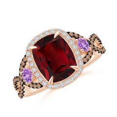 Garnet and Amethyst Crossover Ring with Halo