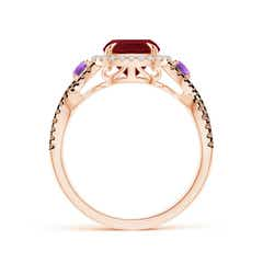 Toggle Garnet and Amethyst Crossover Ring with Halo