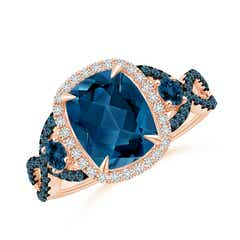 Cushion London Blue Topaz Crossover Ring with Diamond Halo