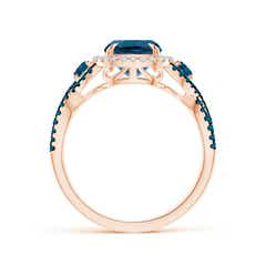 Toggle Cushion London Blue Topaz Crossover Ring with Diamond Halo