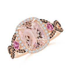 Morganite and Pink Tourmaline Crossover Ring with Halo