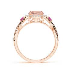 Toggle Morganite and Pink Tourmaline Crossover Ring with Halo