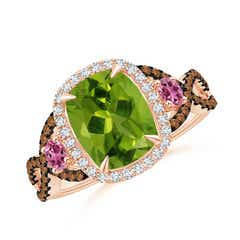 Peridot and Pink Tourmaline Crossover Ring with Halo