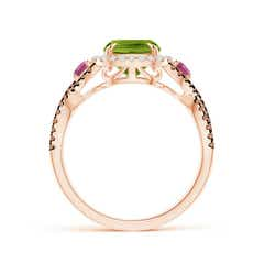 Toggle Peridot and Pink Tourmaline Crossover Ring with Halo