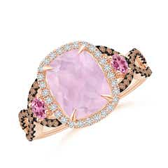 Rose Quartz and Pink Tourmaline Crossover Ring with Halo