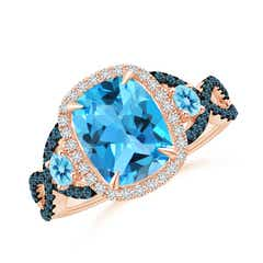 Cushion Swiss Blue Topaz Crossover Ring with Diamond Halo