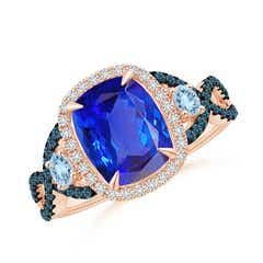 Tanzanite and Aquamarine Crossover Ring with Halo