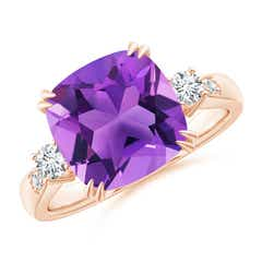 Cushion Amethyst Solitaire Ring with Diamond Accents