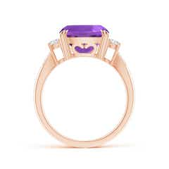 Toggle Cushion Amethyst Solitaire Ring with Diamond Accents