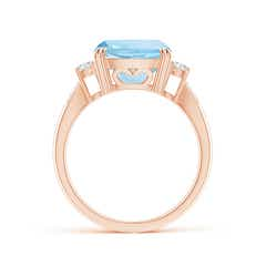 Toggle Cushion Aquamarine Solitaire Ring with Diamond Accents