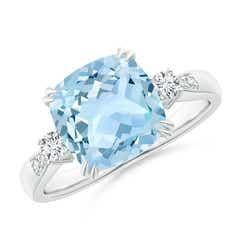 Cushion Aquamarine Solitaire Ring with Diamond Accents