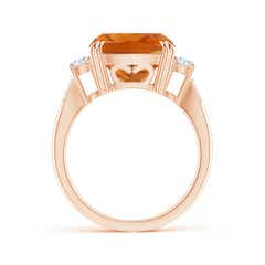 Toggle Cushion Citrine Solitaire Ring with Diamond Accents