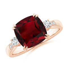 Cushion Garnet Solitaire Ring with Diamond Accents