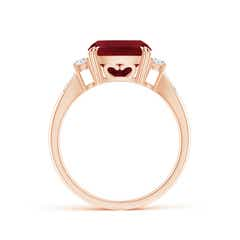 Toggle Cushion Garnet Solitaire Ring with Diamond Accents
