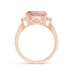 Toggle Cushion Morganite Solitaire Ring with Diamond Accents