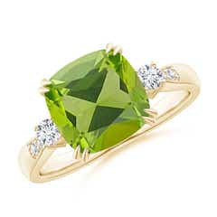 Cushion Peridot Solitaire Ring with Diamond Accents