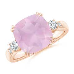 Cushion Rose Quartz Solitaire Ring with Diamond Accents