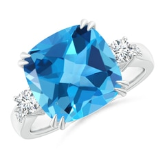 Cushion Swiss Blue Topaz Solitaire Ring with Diamond Accents