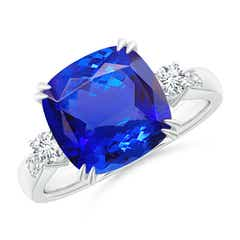 Cushion Tanzanite Solitaire Ring with Diamond Accents
