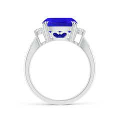 Toggle Cushion Tanzanite Solitaire Ring with Diamond Accents