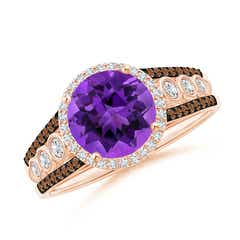 Round Amethyst Halo Regal Ring with Diamond Accents