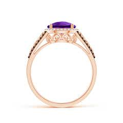 Toggle Round Amethyst Halo Regal Ring with Diamond Accents