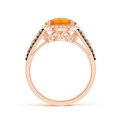 Toggle Round Citrine Halo Regal Ring with Diamond Accents