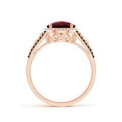 Toggle Round Garnet Halo Regal Ring with Diamond Accents