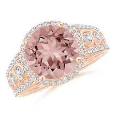 Vintage Style Morganite and Diamond Halo Regal Ring