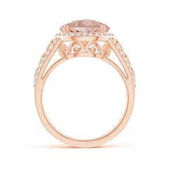 Toggle Round Morganite Halo Regal Ring with Diamond Accents