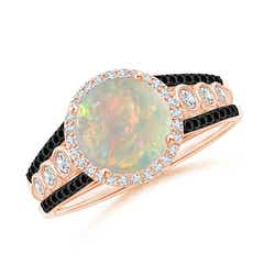 Round Opal Halo Regal Ring with Diamond Accents