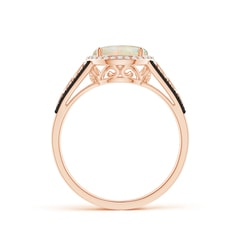 Toggle Round Opal Halo Regal Ring with Diamond Accents