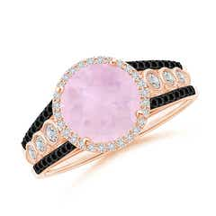 Round Rose Quartz Halo Regal Ring with Diamond Accents