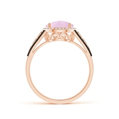 Toggle Round Rose Quartz Halo Regal Ring with Diamond Accents