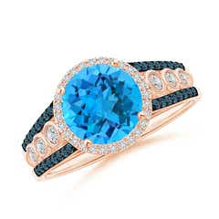 Round Swiss Blue Topaz Halo Regal Ring with Diamond Accents