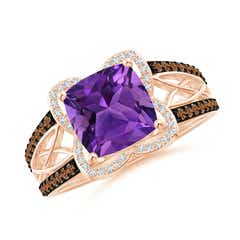 Cushion Amethyst Celtic Knot Cocktail Ring