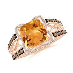 Angara Claw-Set Cushion Citrine Halo Ring with Filigree
