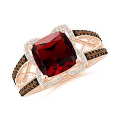 Cushion Garnet Celtic Knot Cocktail Ring