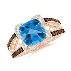 Cushion Swiss Blue Topaz Celtic Knot Cocktail Ring