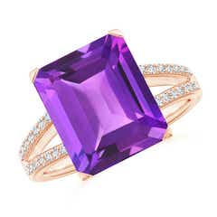 Emerald-Cut Amethyst Split Shank Cocktail Ring with Diamonds