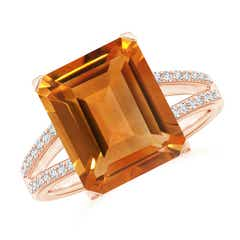 Emerald-Cut Citrine Split Shank Cocktail Ring with Diamonds