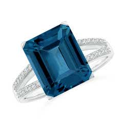 Emerald-Cut London Blue Topaz Split Shank Cocktail Ring