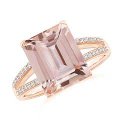 Emerald-Cut Morganite Split Shank Cocktail Ring with Diamonds