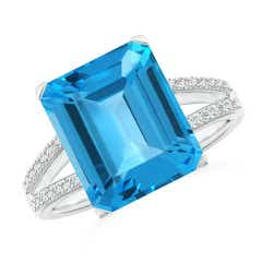 Emerald Cut Swiss Blue Topaz Cocktail Ring with Diamond Accents