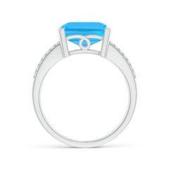 Toggle Emerald-Cut Swiss Blue Topaz Split Shank Cocktail Ring