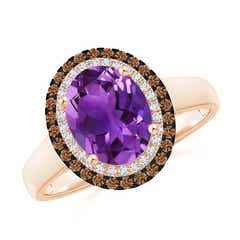 Vintage Style Double Halo Oval Amethyst Ring