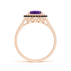 Toggle Vintage Style Double Halo Oval Amethyst Ring