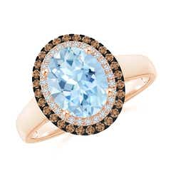 Vintage Style Double Halo Oval Aquamarine Ring