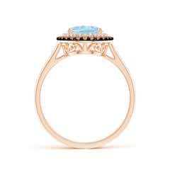 Toggle Vintage Style Double Halo Oval Aquamarine Ring