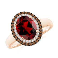 Vintage Style Double Halo Oval Garnet Ring